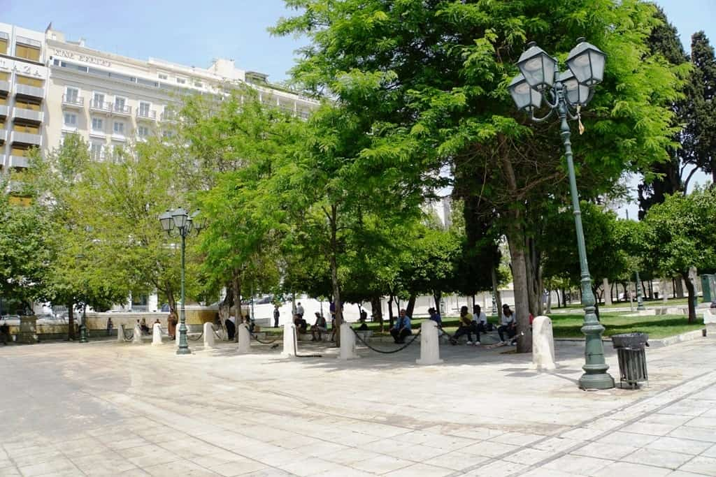 relaxing in Syntagma Square