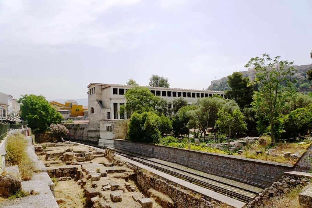 The ancient Agora and the Stoa of Attalos as seen from Monastiraki