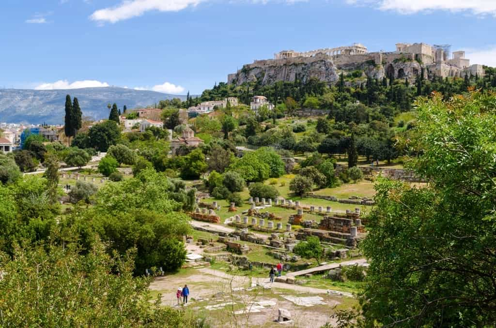 View of Acropolis and ancient Agora of Athens,