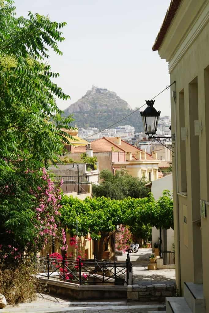 view of Lycabettus Hill from Plaka