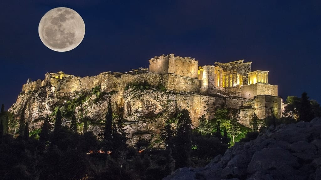Full moon over the Acropolis in Athens