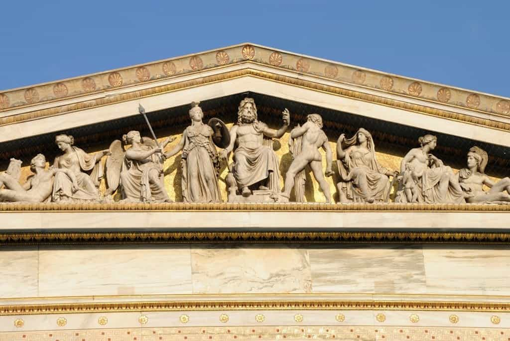 complex of ancient twelve gods on academy building in Athens,