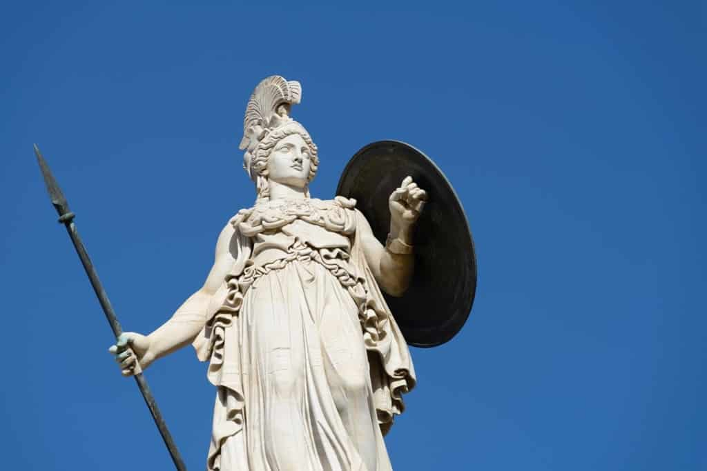 statue of goddess Athena in the center of Athens