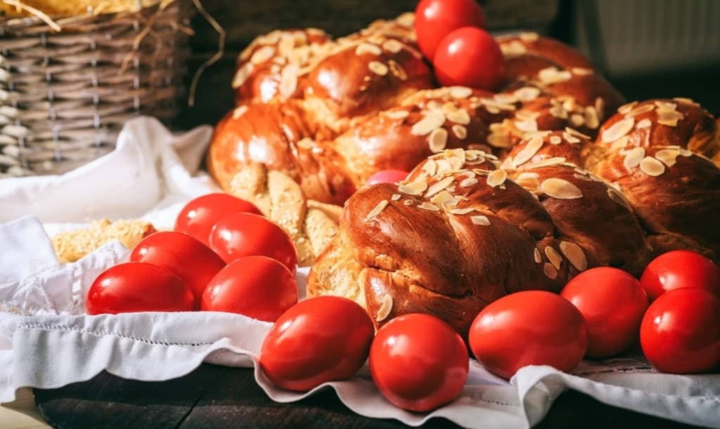 Tsoureki and red eggs are famous for Easter in Greece