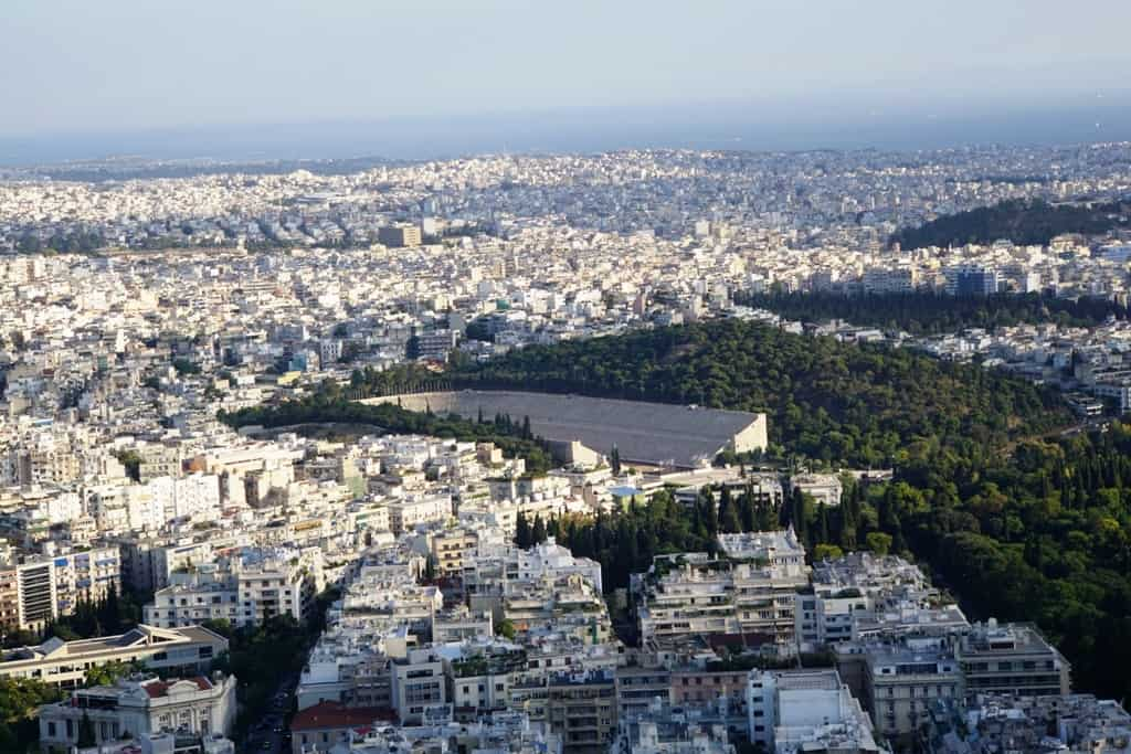 The Panathenaic Stadium from Lycabettus Hill