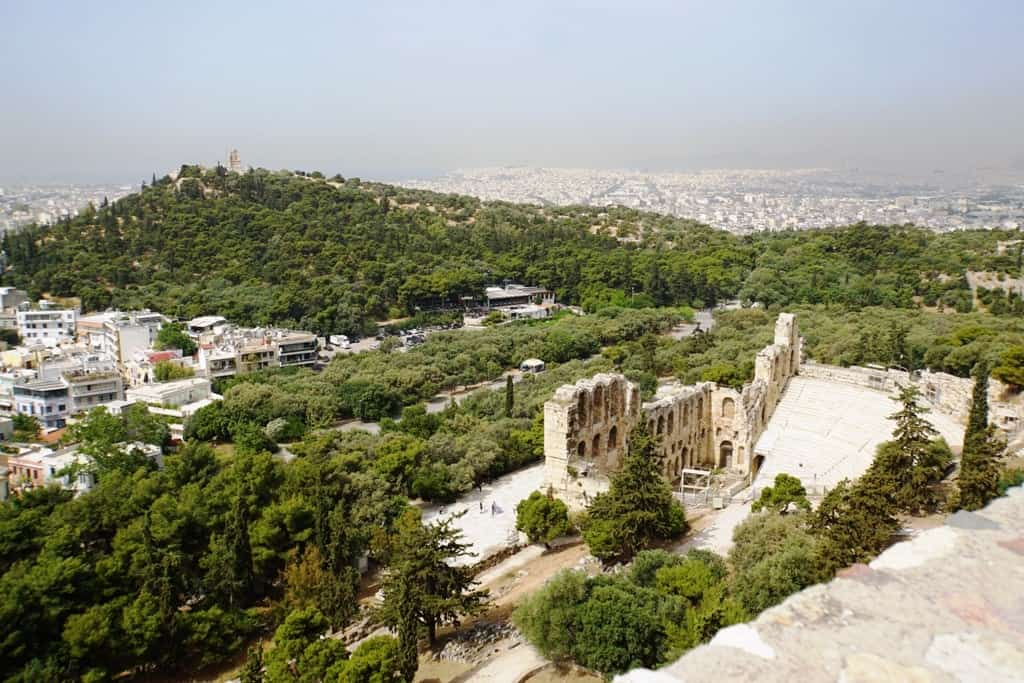 The Oden of Herodes Atticus and Philoppapos Hill as seen from the Acropolis