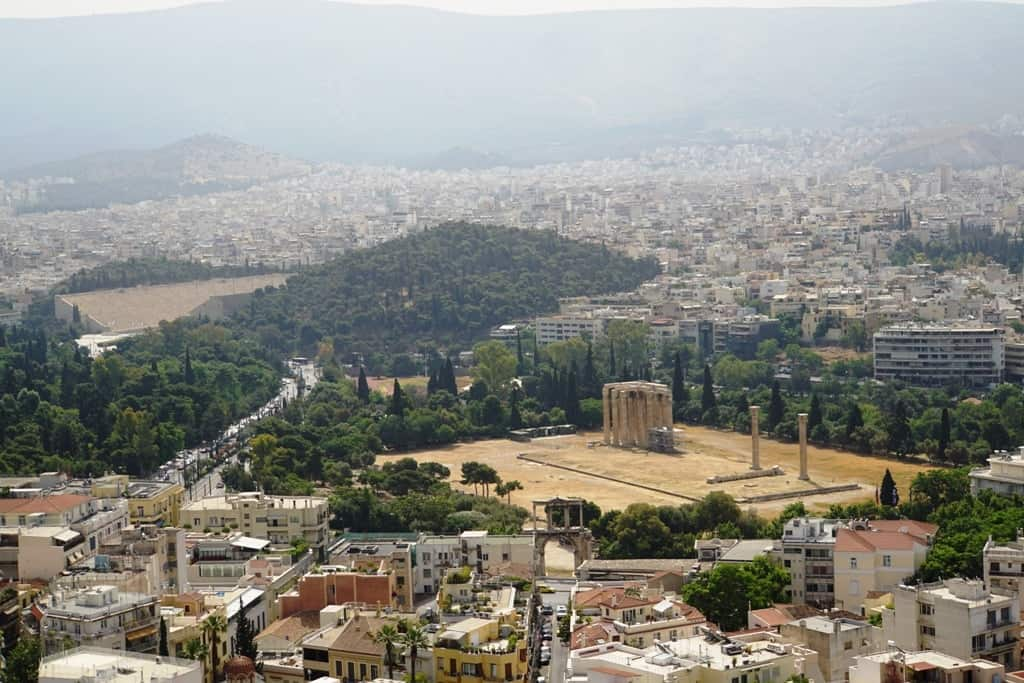 The temple of Olympian Zeus as seen from the Acropolis