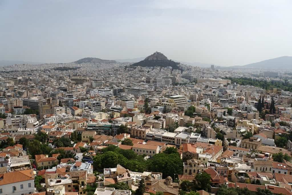The city of Athens and Lycabettis Hill as seen from the Acropolis