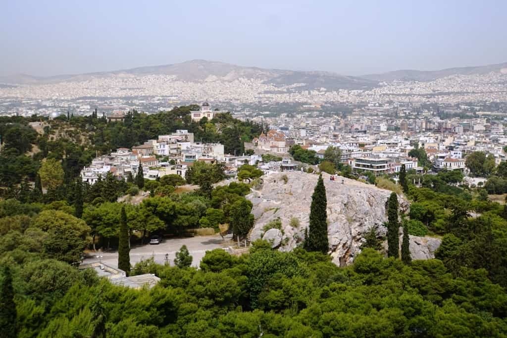 The national observatory and Aeropagus Hill as seen from the Acropolis