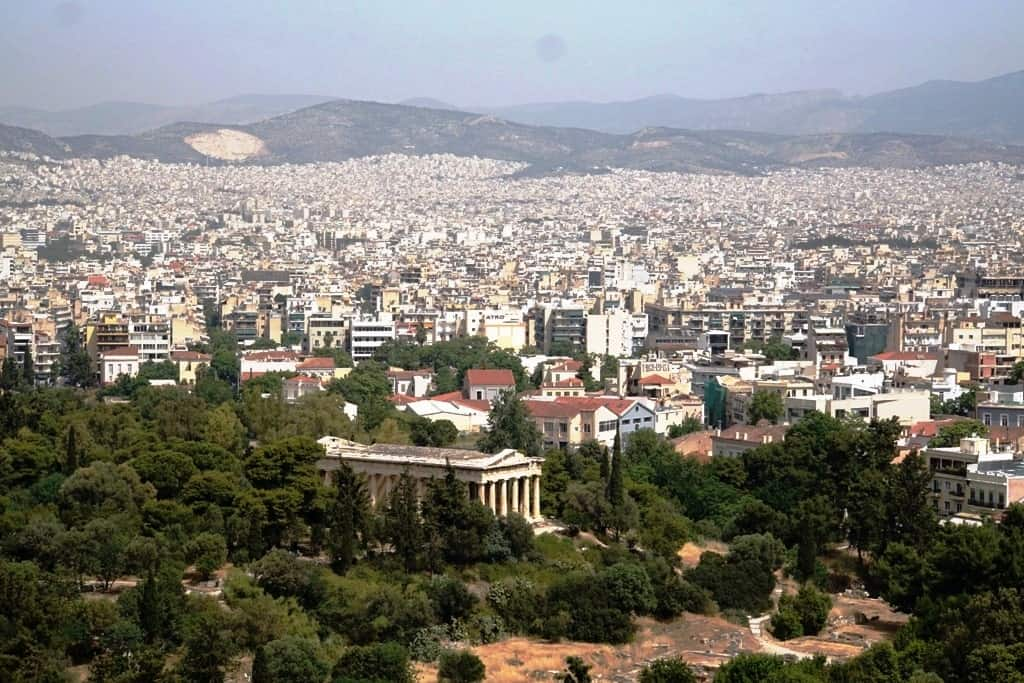 view of Temple of Hephaestus from Areopagus Hill