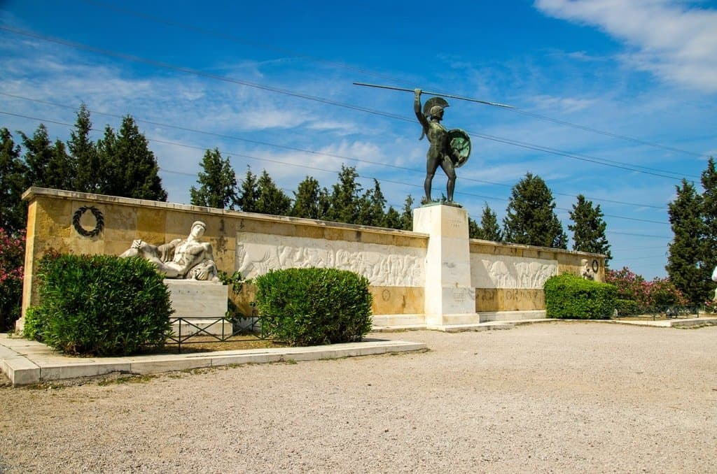 Monument to Leonid I and 300 Spartans in Thermopylae in Greece