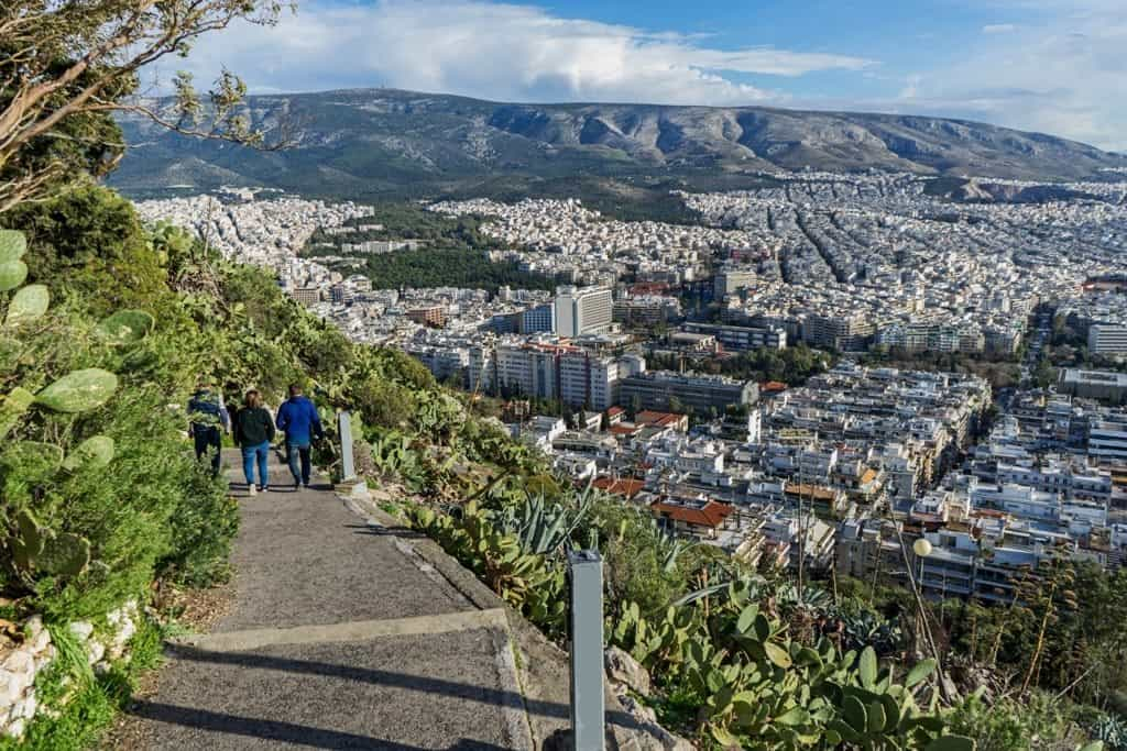 The panoramic view of the city of Athens, Greece from the top of Lycabettus hill.